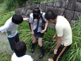 Divine Japanese schoolgirl is trapped by her classmates and her pussy is bullied.