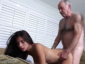 Tender but sensual little Latina with nice hair is fucked hard by a hairy old man.